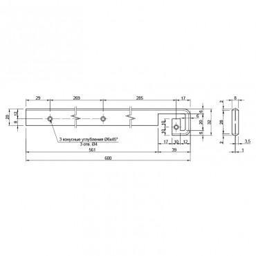 Стыковочная планка на столешницу прямая U, 28мм R=6мм, алюминиевая Украина