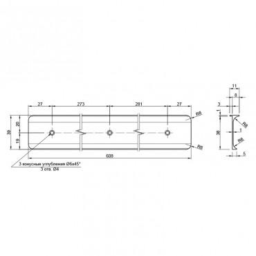 Стыковочная планка на столешницу угловая 38мм, R=6мм, алюминиевая Украина