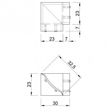Внутренний угол для бортика Термопласт