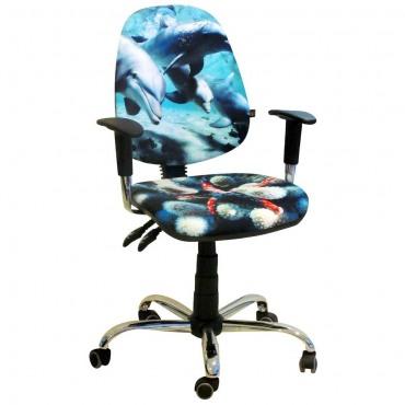 Кресло Бридж Хром Дизайн №5 Дельфины AMF