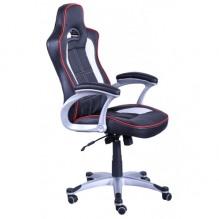 Кресло Драйв к/з PU черный/белые вставки