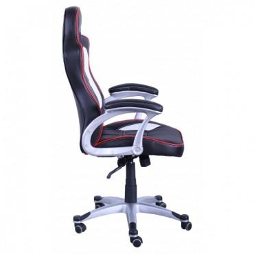 Кресло Драйв к/з PU черный/белые вставки AMF