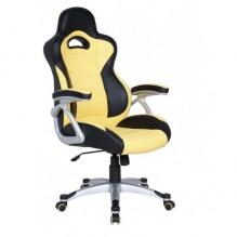Кресло Форсаж №1 к/з PU черный/желтые вставки
