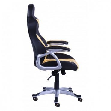 Кресло Форсаж №1 к/з PU черный/желтые вставки AMF