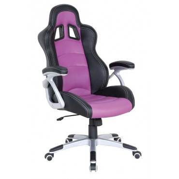Кресло Форсаж №2 к/з PU черный/сиреневые вставки AMF