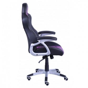 Кресло Форсаж №4 к/з PU серебро/черные, сиреневые вставки AMF