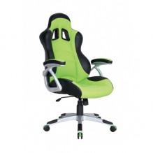 Кресло Форсаж №3 к/з PU черный/зеленые вставки