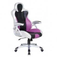 Кресло Форсаж №4 к/з PU серебро/черные,сиреневые вставки