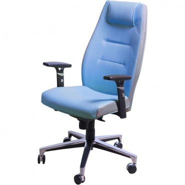 Кресло Элеганс НВ Papermoon-052 (голубой), боковины/задник Неаполь-20 (черный) AMF