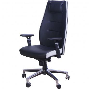 Кресло Элеганс НВ Неаполь-20 (черный), боковины/задник Неаполь-50 (белый) AMF