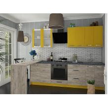 Кухня Шарлотта Дуб крафт серый/желтый 2,6х1,4 м.