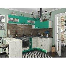 Кухня Шарлотта Дуб крафт белый/абсент 2,4х1,4 м.